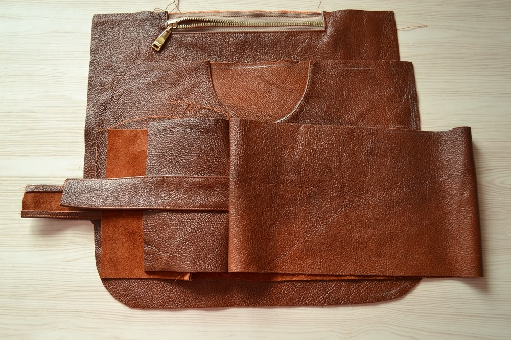 Leather Tote Bag with Zipper Tutorial, step 9